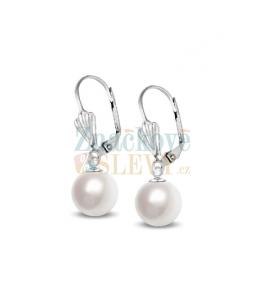 Ocelové visací náušnice Leaf Pearl s perlami Swarovski - chirurgická ocel 316L