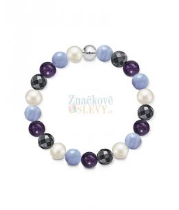Náramek z přírodních kamenů a perly Swarovski - modrý křemen/ametyst/hematit
