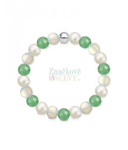Náramek z přírodních kamenů a perly Swarovski - avanturín a opalit
