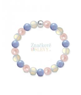 Náramek z přírodních kamenů a perly Swarovski - modrý křemen a opalit