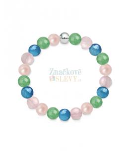 Náramek z přírodních kamenů a perly Swarovski - růženín, avanturín a achát