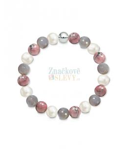 Náramek z přírodních kamenů a perly Swarovski - achát a rodonit