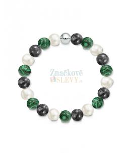 Náramek z přírodních kamenů a perly Swarovski - labradorit a malachit