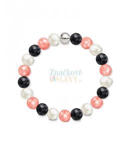 Náramek z přírodních kamenů a perly Swarovski - jadeit a achát