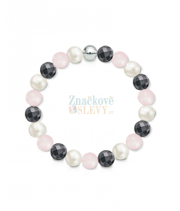 Náramek z přírodních kamenů a perly Swarovski - růženín a hematit
