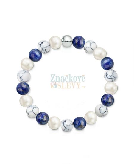 Náramek z přírodních kamenů a perly Swarovski - lapis lazuli a magnezit