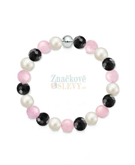 Náramek z přírodních kamenů a perly Swarovski - růženín a achát