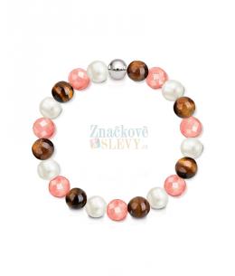 Náramek z přírodních kamenů a perly Swarovski - jadeit a tygří oko