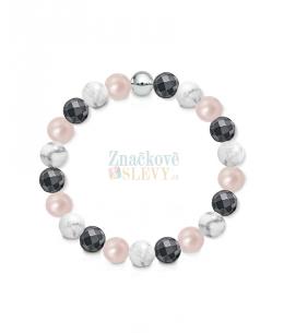 Náramek z přírodních kamenů a perly Swarovski - magnezit a hematit