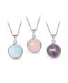 Ocelový náhrdelník Gemstone s přírodním kamenem - chirurgická ocel 316L