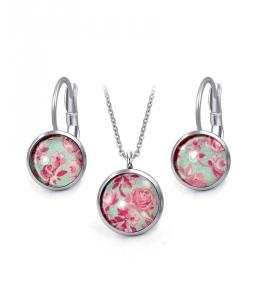 Ocelový set Glassy s motivem - růžový s květy