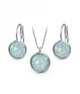 Ocelový set Glassy s motivem - světle modrý