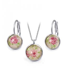 Ocelový set Glassy s motivem - retro s květy