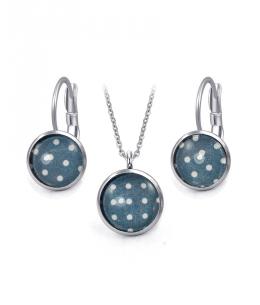 Ocelový set Glassy s motivem - tmavě modrý s puntíky