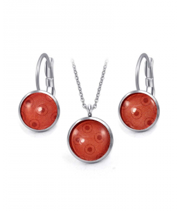 Ocelový set Glassy s motivem - červený s dvojitými kruhy