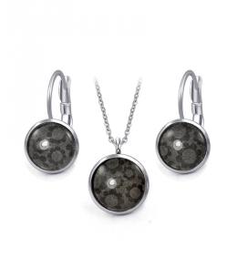 Ocelový set Glassy s motivem - černý s květy