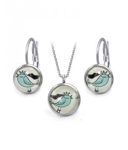 Ocelový set Glassy s motivem - zpívající ptáčci