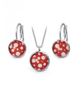 Ocelový set Glassy s motivem - červený s bílými puntíky