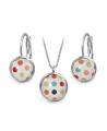 Ocelový set Glassy s motivem - bílý s barevnými puntíky