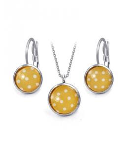 Ocelový set Glassy s motivem - žlutý s bílými puntíky
