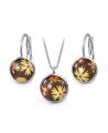 Ocelový set Glassy s motivem - hnědý s barevnými květy