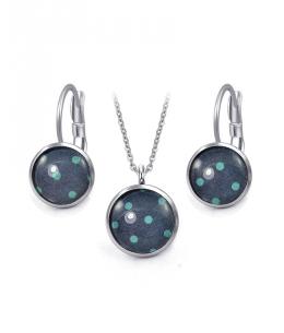 Ocelový set Glassy s motivem - tmavě modrý s azurovými puntíky