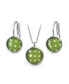 Ocelový set Glassy s motivem - světle zelený s bílými puntíky