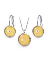 Ocelový set Glassy s motivem - žlutý s mandalou