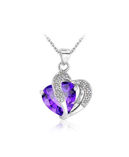 Krásný rhodiovaný přívěsek ve tvaru dvojitého srdce se zirkony a s krystalem s imitací ametystu