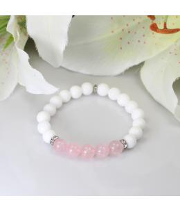 Náramek z přírodních kamenů a ozdobnými ocelovými korálky - bílý jadeit a růženín