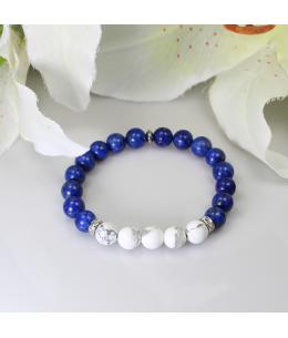 Náramek z přírodních kamenů a ozdobnými ocelovými korálky - lapis lazuli a magnezit