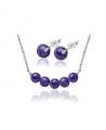 Ocelový set Gemstone Beads s přírodními kameny - Ametyst