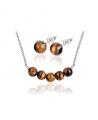 Ocelový set Gemstone Beads s přírodními kameny - Tygří oko