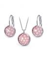 Ocelový set Glassy s motivem - růžový s bílými puntíky
