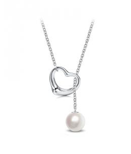 Ocelový náhrdelník Open Heart Simple Pearl ve tvaru srdce s perlou Swarovski - chirurgická ocel 316L