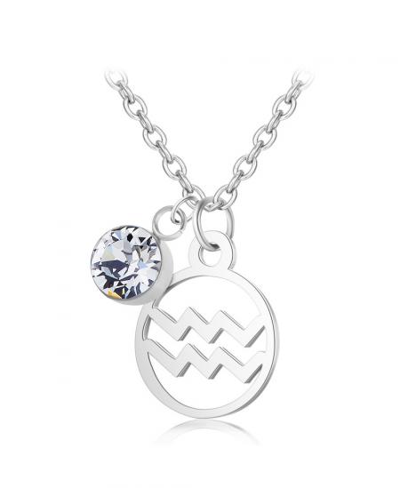 Ocelový náhrdelník Constellation ve znamení zvěrokruhu s krystalem Swarovski®