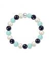 Náramek z přírodních kamenů a perly Swarovski - amazonit a modrý avanturín