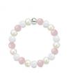 Náramek z přírodních kamenů a perly Swarovski - bílý jadeit a růženín