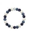Náramek z přírodních kamenů a perly Swarovski - bílý jadeit a modrý avanturín