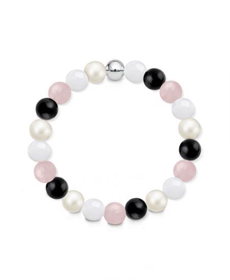 Náramek z přírodních kamenů a perly Swarovski - bílý jadeit, růženín a černý achát