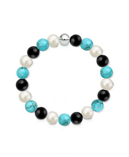 Náramek z přírodních kamenů a perly Swarovski - černý achát a tyrkys