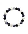 Náramek z přírodních kamenů a perly Swarovski - černý achát a modrý avanturín