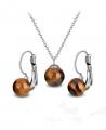 Ocelový set Gemstone Solitare s přírodními kameny - Tygří oko