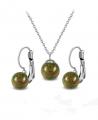 Ocelový set Gemstone Solitare s přírodními kameny - Epidot