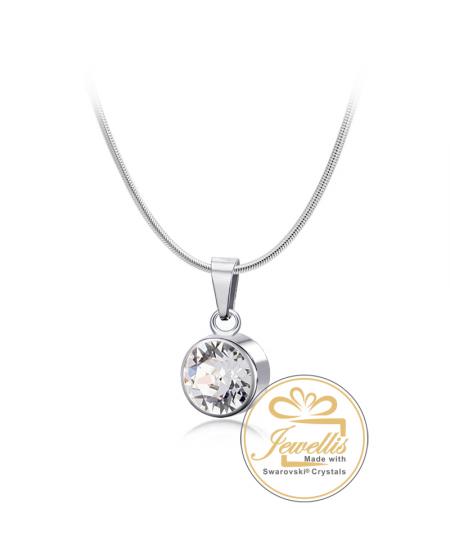 Ocelový náhrdelník Birthstone s krystaly Swarovski - chirurgická ... 86f9c2c9221