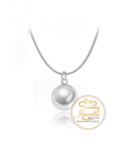 Ocelový náhrdelník Simple Button Pearl s perlou Swarovski - chirurgická ocel 316L
