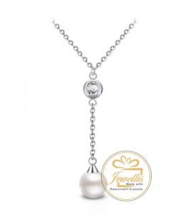 Ocelový náhrdelník Princess Long Pearl s perlou a krystalem Swarovski - chirurgická ocel 316L