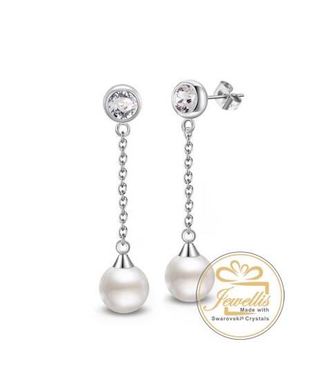 Ocelové náušnice Princess Long Pearl s perlou a krystalem Swarovski - chirurgická ocel 316L
