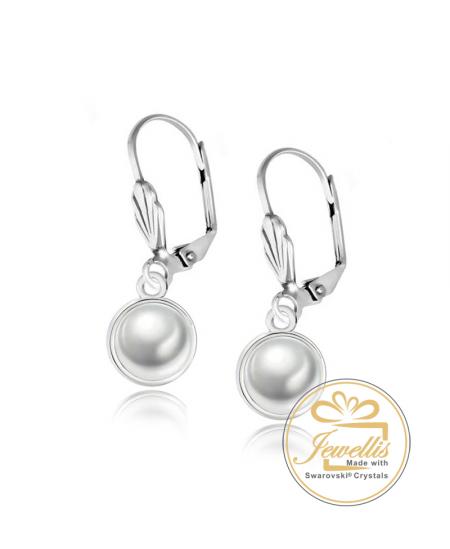 Ocelové visací náušnice Leaf Button Pearl s perlami Swarovski - chirurgická ocel 316L