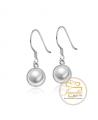Ocelové visací náušnice Solid Button Pearl s perlami Swarovski - chirurgická ocel 316L